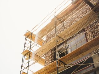 A Scaffolding In Front Of A Building